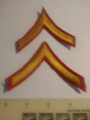 Ww2 Usmc Private Stripes 1 Set Of Two Patches Unissued