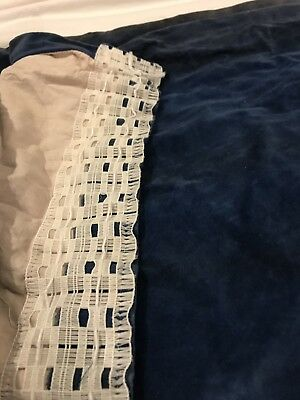 "Vintage Pair of BLUE VELVET Lined Curtains - Heavy - 89"" X 79"""