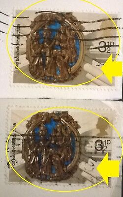 2 GB ERROR/VARIETY USED 3 1/2p XMAS 1974 SG966 STAMPS - BACKGROUND SHADE VARIES
