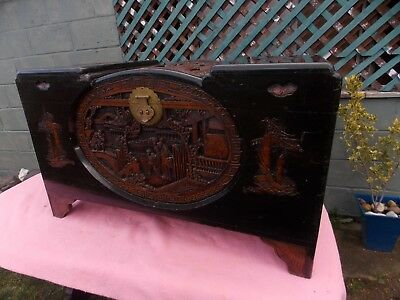 Carved camphor wood chest