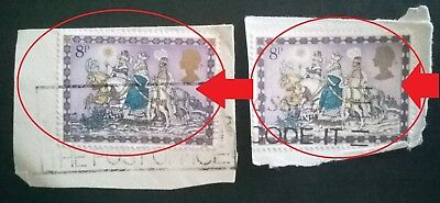 2 Error/variety Gb Used 8P Sg1104 Xmas 1979 Stamps  - Background Shade Varies