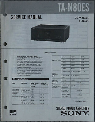 Original Service Manual Sony TA-N80ES