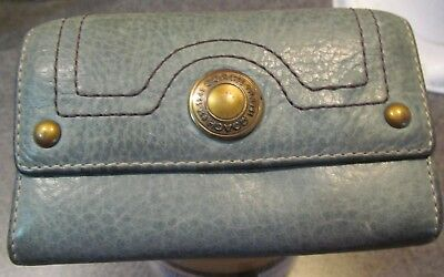 Coach Blue Leather Wallet with Snap front and interior Zipper Used