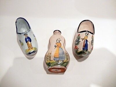Collection Of 3 Vintage French Faience Pieces - Pouplard-Beatrix/ Quimper