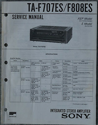 Original Service Manual Sony TA - F707ES / F808ES