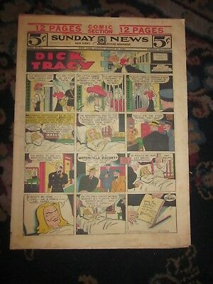 Vtg N.y. Sunday Daily News  Newspaper Comic Section-Dick Tracy-Gould-Aug 25 1946