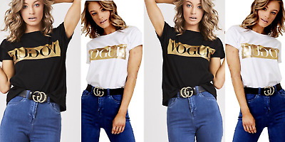 Womens Ladies Short Sleeve Vogue Slogan Gold Foil Printed Casual T Shirt Top Tee