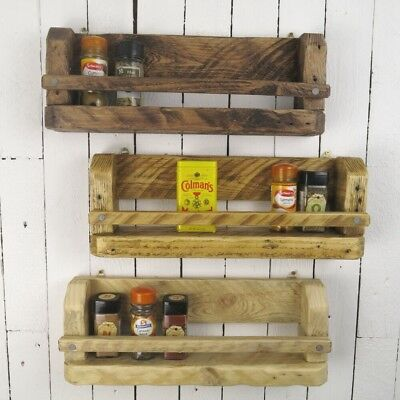 Handmade Rustic Wooden Spice Rack Wall Mountable Choose Wax Colour