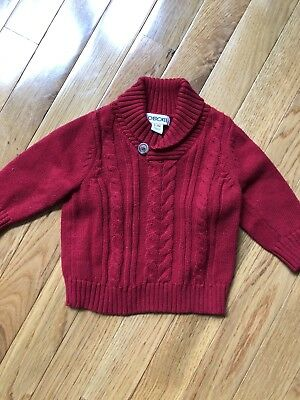 EUC Cherokee Valentine Red Cable Knit Sweater 0-3 Months Boy or Girl