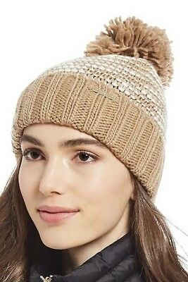 7e2c6133ee041 MICHAEL KORS CABLE KNIT BEANIE HAT CAMEL WITH POM POM Gently Used ...