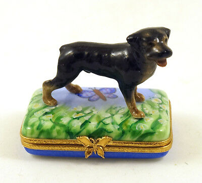 New French Limoges Trinket Box Rottweiler Dog In Lily Of The Valley Garden