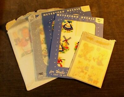 Collection Vtg Meyercord Decals Bear Boy Girl Dutch Windmill MS12