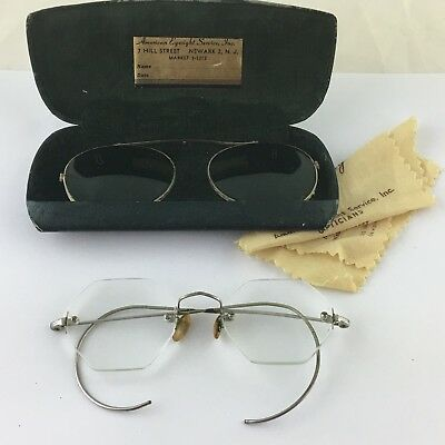 Antique Eyeglasses Clear & Green One Box Eye Glasses Pair