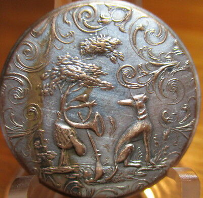 "Antique BACKMARKED ""Sporting Design"" Button ""WHIPPET DOG W/HUNT EQUIP"" Brass"