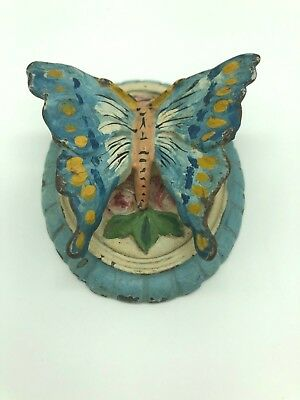 Antique Cast Iron Colorful Butterfly Door Knocker Turn of the Century NO RESERVE