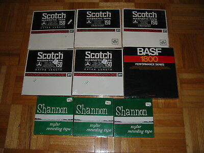 Lot Of 9 Still Sealed, Unused Reel To Reel Tapes Scotch, Basf, Shannon