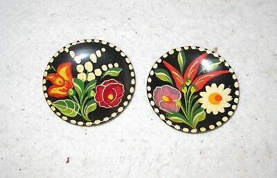 Pair of Ceramic Plates Hand Painted Floral 2 7/8""