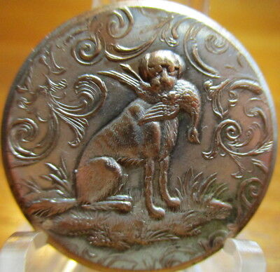 "Antique BACKMARKED ""Sporting Design"" Button ""DOG W/PHEASANT BIRD"" Hunt Brass"