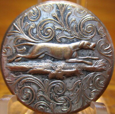 "Antique BACKMARKED ""Sporting Design"" Button ""DOG RUNNING"" Hunt Silvered Brass"