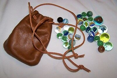 35 Marbles Collection in Leather Drawstring Bag Vintage?