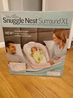 Baby Delight Snuggle Nest Surround XL Portable Infant Bed Sea Pink Baby, in box