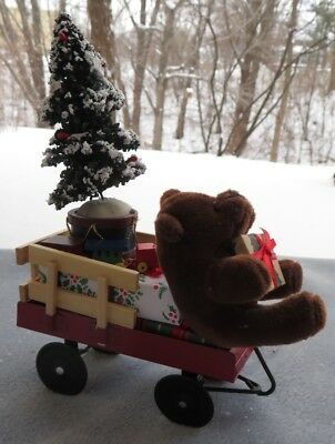 Byers Choice Caroler Accessory Wagon with Bear and Presents New