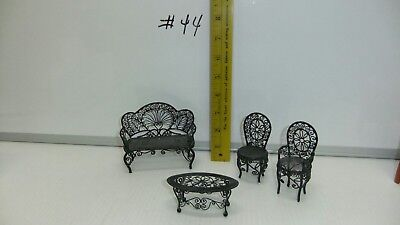 4 Lot Dollhouse Miniature Metal Furniture Patio Round Table Chairs Bench  #44