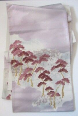 "So Pretty Lilac Pine Embroidery Scattered Color Japanese Silk OBI 168"" L O120"