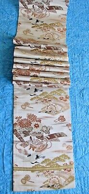 "Gorgeous Crane's Temple Flowers Japanese Silk Full Obi 152"" Maru 3126"