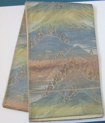"Iridescent Fuji Gold Foil Mountain Tree's Scenery Japanese Silk OBI 160"" L O112"