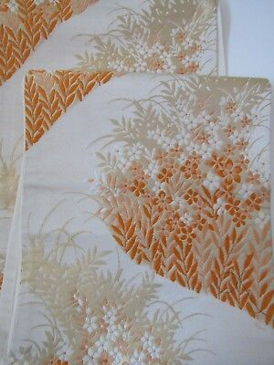"Gorgeous Supple Soft Special Apricot White Gold Japanese Silk OBI 164"" L O116"