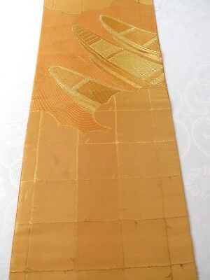 "Fantastic Boats Fine Gold Gilded Embroidery Japanese Obi Silk Fabric 52""L #28"