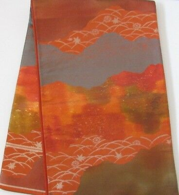 "Deep Color Mountain Gold Silver Flower Scene Japanese Silk OBI 160"" L O114"