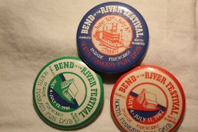 Vintage Bend of the River Festival Pins Mankato, MN 1981, 1982 & 1984