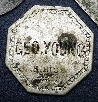 Geo. (George) Young 5 Cent Incuse Trade Token H. Rice Maker, Dayton, Ohio