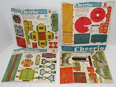 Cheerios Cereal Railroad Models Box Backs Cereal Premium, 4 different