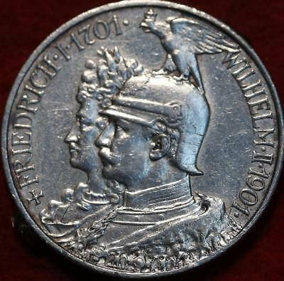 1901 Germany Prussia 2 Mark Silver Foreign Coin