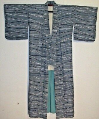 Man's Light Blue Shikishi Kimono Robe 100% Silk Made in Japan 601