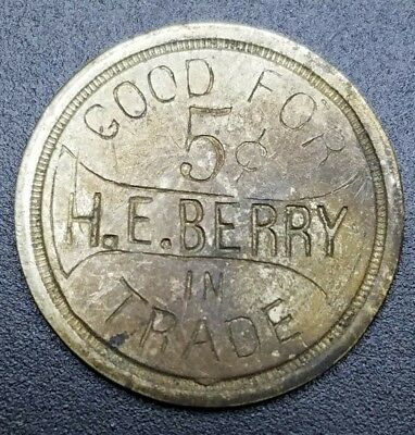 H.E. Berry Wooster, Ohio Trade or Advertising Token H. Rice Maker, Dayton, OH