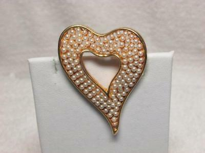 Vintage White Faux Pearl Heart Gold Tone Brooch