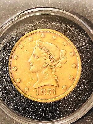 1851 $10 Gold Liberty Head Eagle No motto