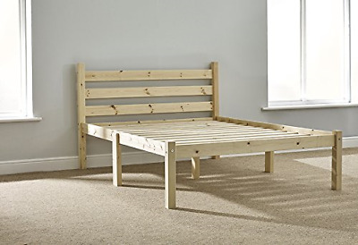 Double Pine Bed 4ft 6 HEAVY DUTY Wooden Frame with extra wide base slats and ...