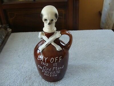 Vintage Skull & Crossbones Decanter Lay Off Old Mans Poison Skull Topped Jug