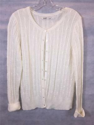 FOXCROFT WOMEN S WHITE Cardigan Sweater Zippered Cable Knit Navy ... 6d938d95b