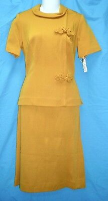 Nwt-60's Vintage 2 Pc Gold Knit Dress-Soutache Cord Frog Trim-Pencil Skirt-12