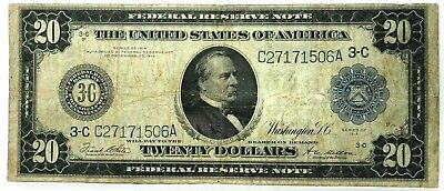 1914 $20 Dollar Bill Philadelphia Pennsylvania   Federal Reserve Note Large Size