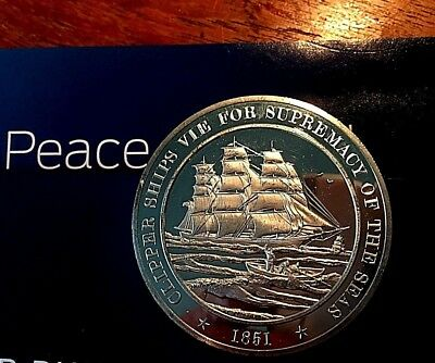 Sterling Silver Proof Franklin Mint 1851 Clipper Ships Medallion 1.1568 ASW