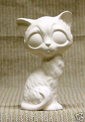 Ceramic Bisque Bug Eyed Cat Ross Mold 639 U-Paint Ready To Paint