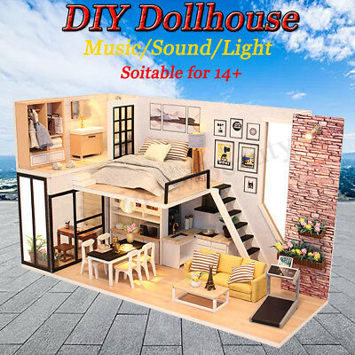 DIY LED Wooden Dollhouse Miniature Wooden Furniture Kit Doll House Kid's Toy AU