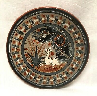 """*VINTAGE* 9"""" MEXICAN Tonala Burnished POTTERY PLATE Deer Signed by Artist NOGAL"""